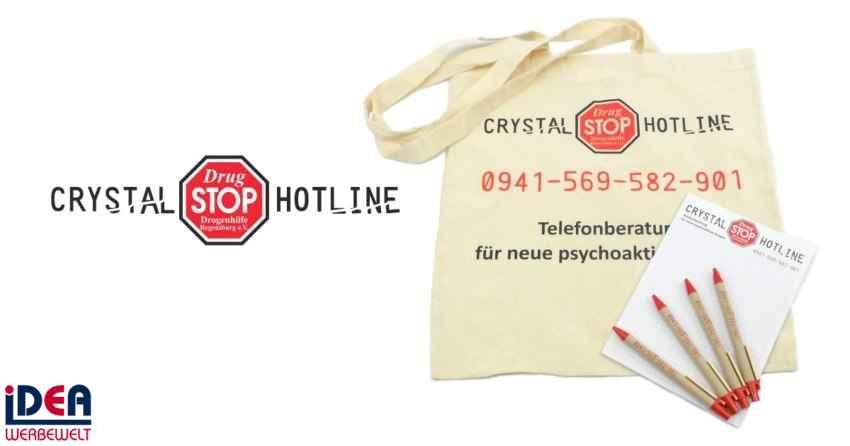 Kugelschreiber Blöcke und Baumwolltaschen von DrugStop e.V.