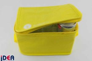 Kleine gelbe Kühltasche mit Logo bedruckt