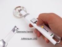 Stabfeuerzeug, Feuerzeug, MagLighter, elektrische Flamme, Aufladung per USB